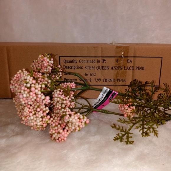 """Pack of 6 30"""" Queen Ann's Lace Pink Silk Flower"""